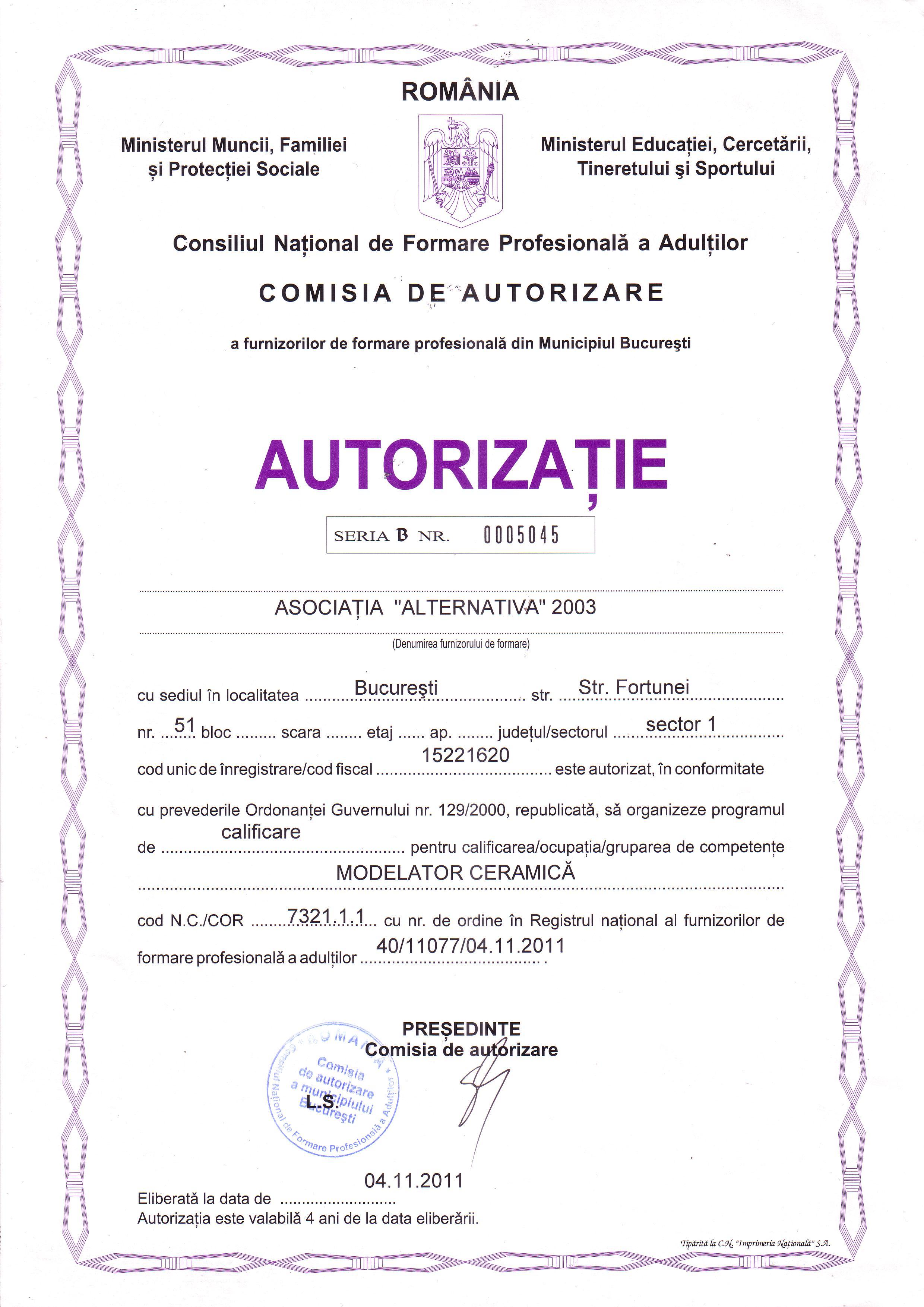 AUTORIZATIE CURS 2012