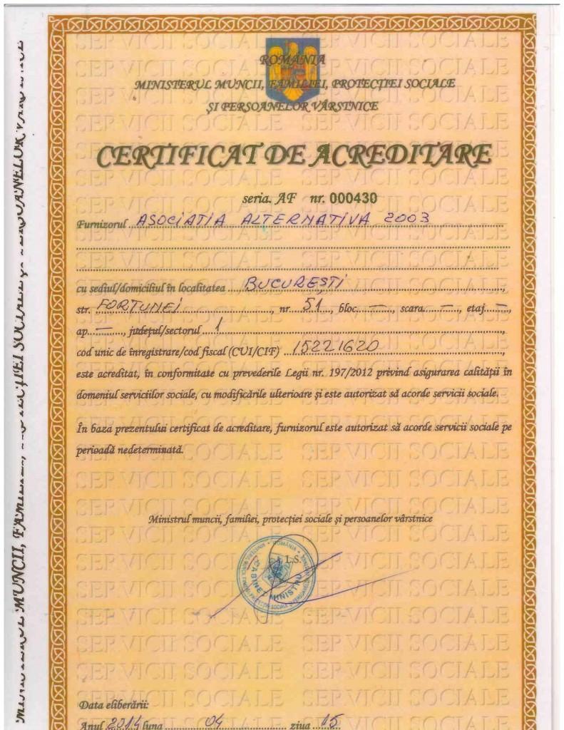 Certificat de Acreditare servicii sociale