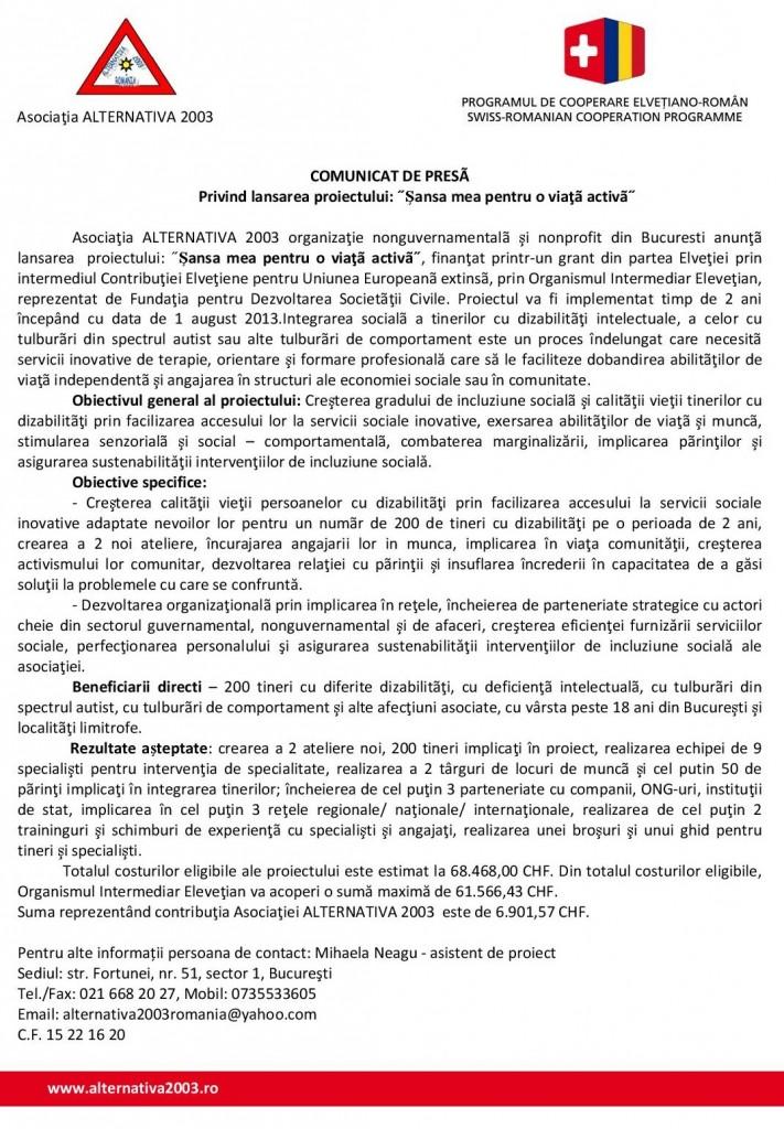 Lansare Proiect_ Sansa mea pentru o viata activa- FDSC_Asociatia ALTERNATIVA