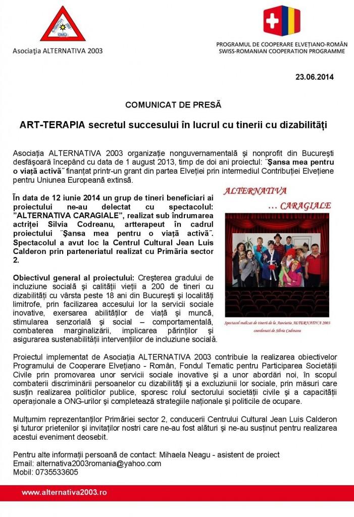 Comunicat de presa ART TERAPIA