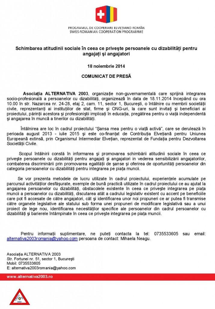 Comunicat de presa Schimbarea atitudinii   sociale_18_11_2014