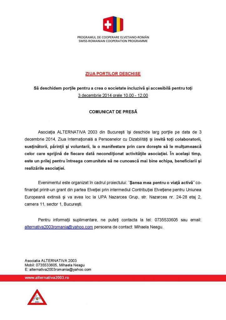 Comunicat de presa Ziua portilor deschise FDSC 2014